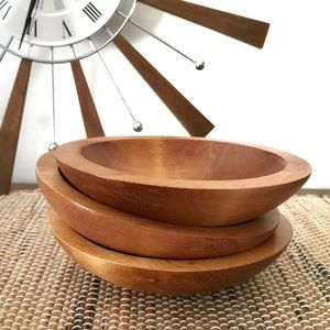 Vintage handcrafted maple wood bowls